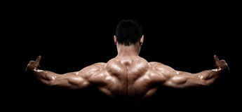 Rear view of healthy muscular young man stock photos