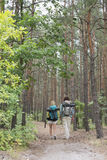 Rear view of hiking couple walking in forest Stock Images