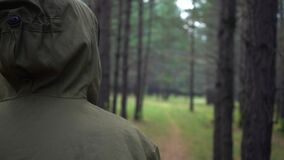 Rear view of a hooded forester looking out over the forest.