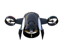 Rear view of a hybrid drone which have 2 mode to fly. lift up vertically and flying in horizon Royalty Free Stock Images