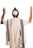 Rear view of jewish men put phylactery Royalty Free Stock Image