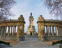 Rear View of King Alfonso XII Monument at Parque del Buen Retiro Stock Photography