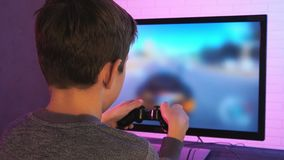 Rear view of a little boy playing racing game. Stock footage stock footage