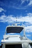 Rear view of a luxury Yacht. Over a bright blue sky in Door County Wisconsin Stock Image