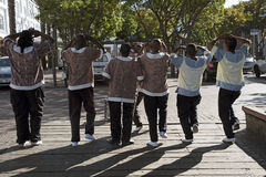 Rear view of male African dancers Stock Photo