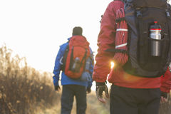 Rear view of male backpackers walking in field Royalty Free Stock Photos