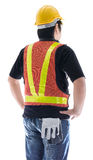 Rear view of male construction worker with Standard construction Stock Photography