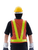 Rear view of male construction worker with Standard construction Stock Images