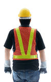 Rear view of male construction worker with Standard construction Royalty Free Stock Images