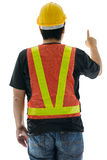 Rear view of male construction worker with Standard construction Royalty Free Stock Photo