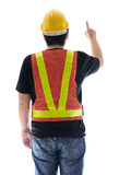 Rear view of male construction worker with Standard construction Royalty Free Stock Photos