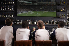 Rear View Of Male Friends Watching Game In Sports Bar Royalty Free Stock Photos
