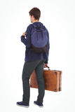Rear view of man with backpack and briefcase Stock Photo