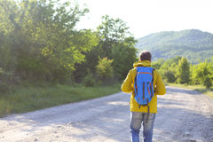 Rear view of man with backpack hiking in forest stock photos