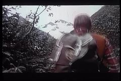 Rear view of man with backpack hiking on mountain path stock video