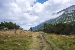 Summer hiking in Rila Mountains stock photo