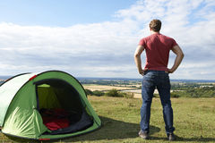 Rear View Of Man Camping And Admiring View Stock Photography