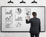 Rear view of man drawing graphs Stock Photos