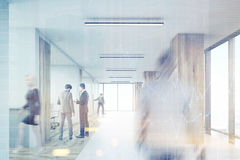 Rear view of man entering office with wooden columns, toned. Rear view of men entering office corridor with wooden columns and row of conference rooms. 3d Stock Image