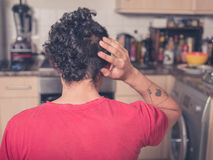 Rear view of man with funny haircut Royalty Free Stock Photos