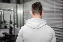 Rear view of man with grey jumper Royalty Free Stock Photos