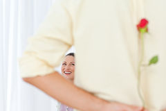 Rear view of a man hiding a rose Stock Photography