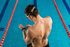 Rear view of a man preparing. Rear view of a man adjusting his watch infront of a swimming pool Stock Photography