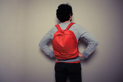 Rear view of man with red backpack Royalty Free Stock Photography
