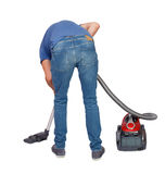 Rear view of a man with  vacuum cleaner Royalty Free Stock Photography