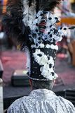 Rear view of man wearing top hat or cylinder hat decorated with feathers durinf a masked festival stock photos