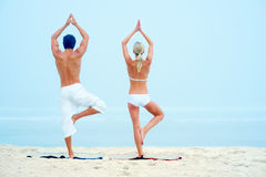 Rear view of a man and woman practicing yoga Stock Photography
