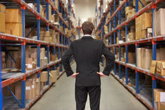 Rear View Of Manager In Warehouse. Standing With Hands On Hips stock photography