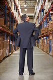 Rear View Of Manager In Warehouse. Rear View Of Manager In distribution Warehouse Royalty Free Stock Images