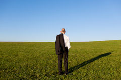 Rear View Of Mature Businessman Standing On Grassy Field Stock Image