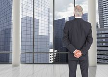 Rear view of mature serious businessman posing Stock Photography