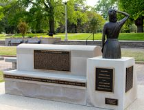 Rear View of Memphis Belle Memorial Statue and Bronze Plaque Royalty Free Stock Photography