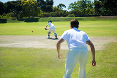 Rear view of men playing cricket at pitch. Rear view of man playing cricket at pitch on sunny day stock photos