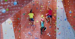 Men and woman practicing rock climbing in fitness studio 4k
