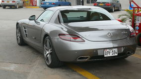 Rear view of a Mercedes Benz SLS AMG 6.3 Royalty Free Stock Photo