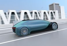 Rear view of metallic blue autonomous electric car moving fast on the highway. 3D rendering image stock illustration