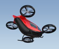 Rear view of metallic red self-driving passenger drone flying in the sky. 3D rendering image Royalty Free Stock Photos