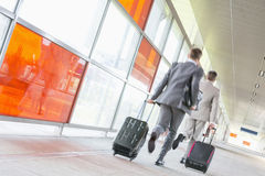 Rear view of middle aged businessmen with luggage rushing on railroad platform Stock Images