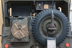 Rear view of of military vehicle for radio communications from World War II.  Stock Photos