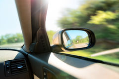 Rear-view mirror of car Royalty Free Stock Image
