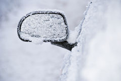 Rear view mirror frozen stuck royalty free stock photography