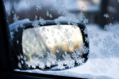 Rear-view mirror with ice crystal Stock Photography