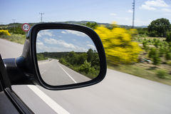 Rear view Mirror. And sky background Stock Photos