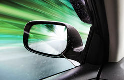 Rear-view mirror of speed car Stock Photo