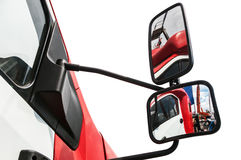 Rear-view mirror on the truck isolated  a white background Royalty Free Stock Photo
