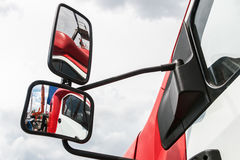 Rear-view mirror on the truck Stock Image